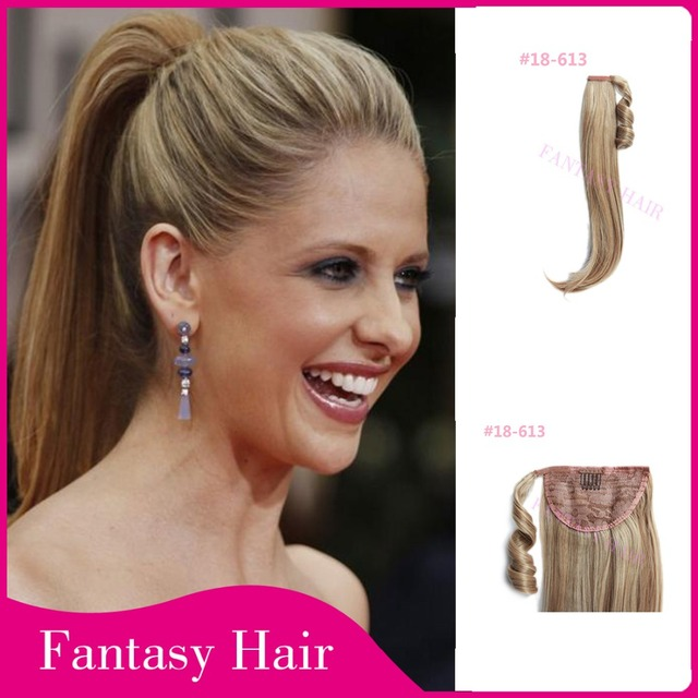 Tangle Free Heat Resistant Women Light Brown Fake Hair Ponytail Long