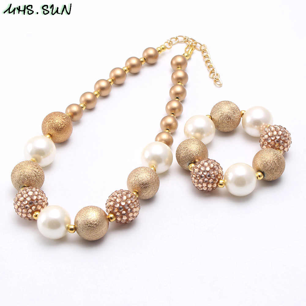 MHS.SUN Baby girls chunky bubblegum necklace diy beaded bracelets for kids children fashion imitation pearl choker necklace gift
