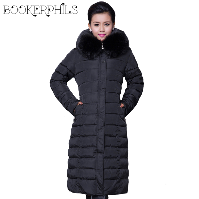 Winter Women Fashion Long Thick Warm Cotton Jacket Women Plus Size High Quality Fur Collar Slim Coat Women Overcoat Parka ваза sima land серебряная роза высота 18 см