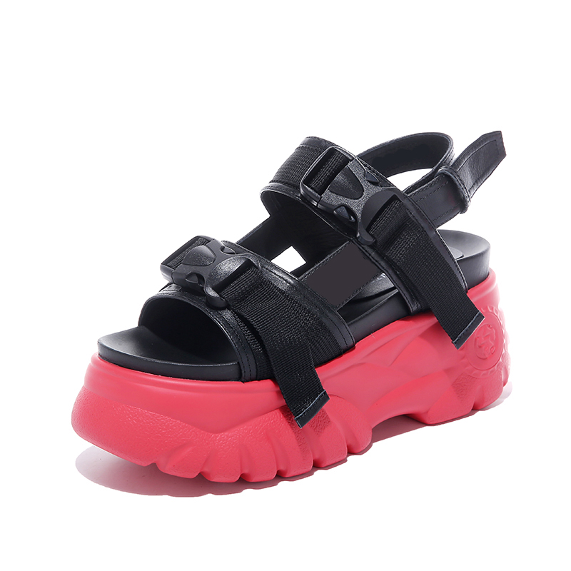 New 2019 Summer Platform Women Sandals 8CM Heels Beach Peep toe Sandalias Breathable Thick Sole Casual Flip Flops White Sneakers in High Heels from Shoes