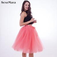 New Summer 7 Layers Midi Tulle Skirt Women High Waist Elastic Belt Bridesmaid Tutu Skirts Wedding Underskirt Vintage Petticoat