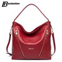 BOSTANTEN Genuine Leather Women Shoulder Bag Brand Designer Cowhide Real Leather Women Bag Large Fashion Hobos