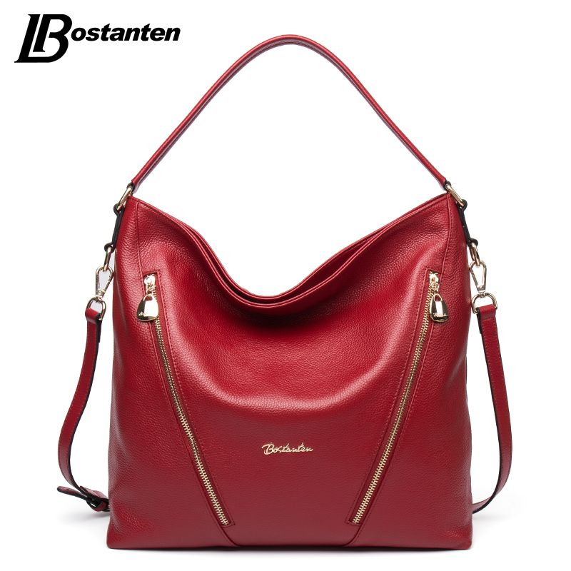 BOSTANTEN Genuine Leather Women Shoulder Bag Brand Designer Cowhide Real leather women bag Large Fashion Hobos Crossbody Handbag 2017 women bag cowhide genuine leather fashion folding handbag chain shoulder bag crossbody bag handbag party clutch long wallet