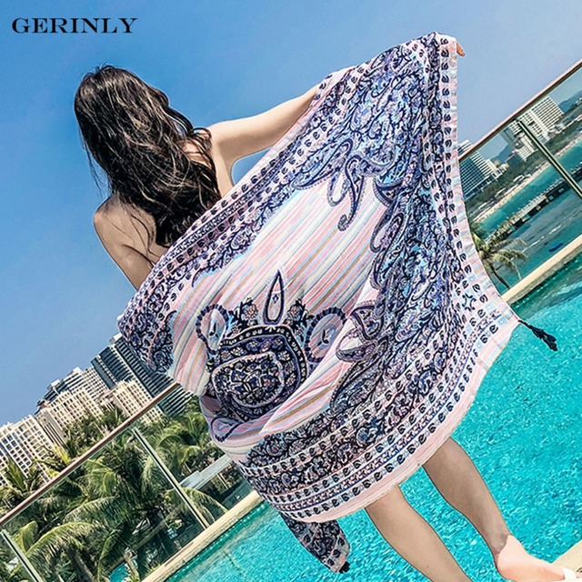 58a025b467400 Bohemian Summer Beach Travel Scaf Women Printed Pareo Beach Sarongs Bikini  Cover Up Hawaiian Dress Beach Towel Oversized Shawls