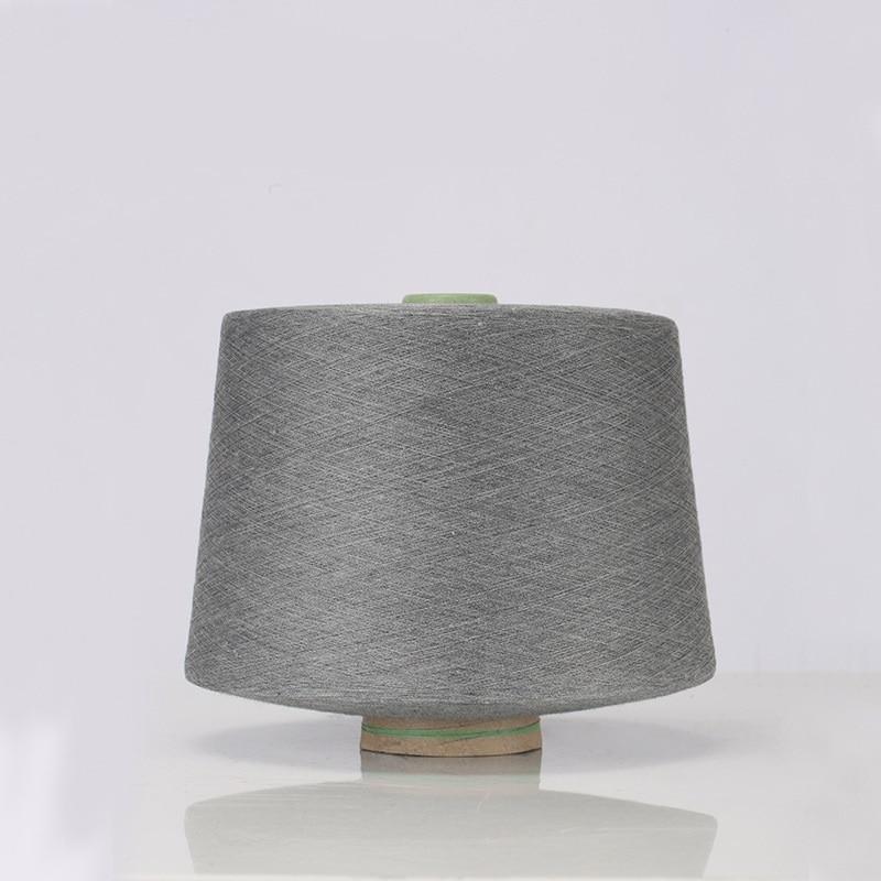 Темно серая чесаная хлопчатобумажная и серебряная нить для шитья текстильная пряжа 32 s Антистатическая (90% хлопковое волокно + 10% Серебряное волокно) - 4