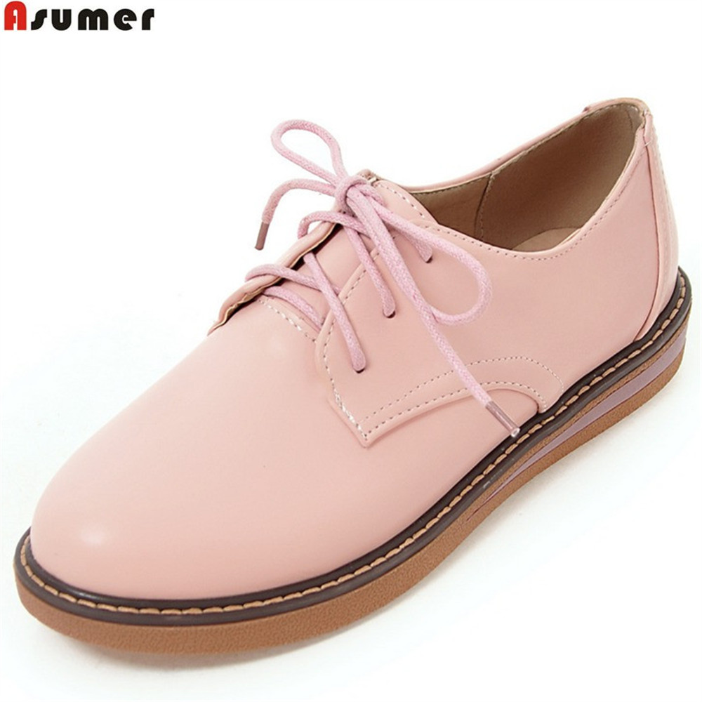 ASUMER black pink brown beige fashion spring autumn new 2018 ladies shoes round toe lace up casual women flats shoes asumer 2018 fashion apring autumn new