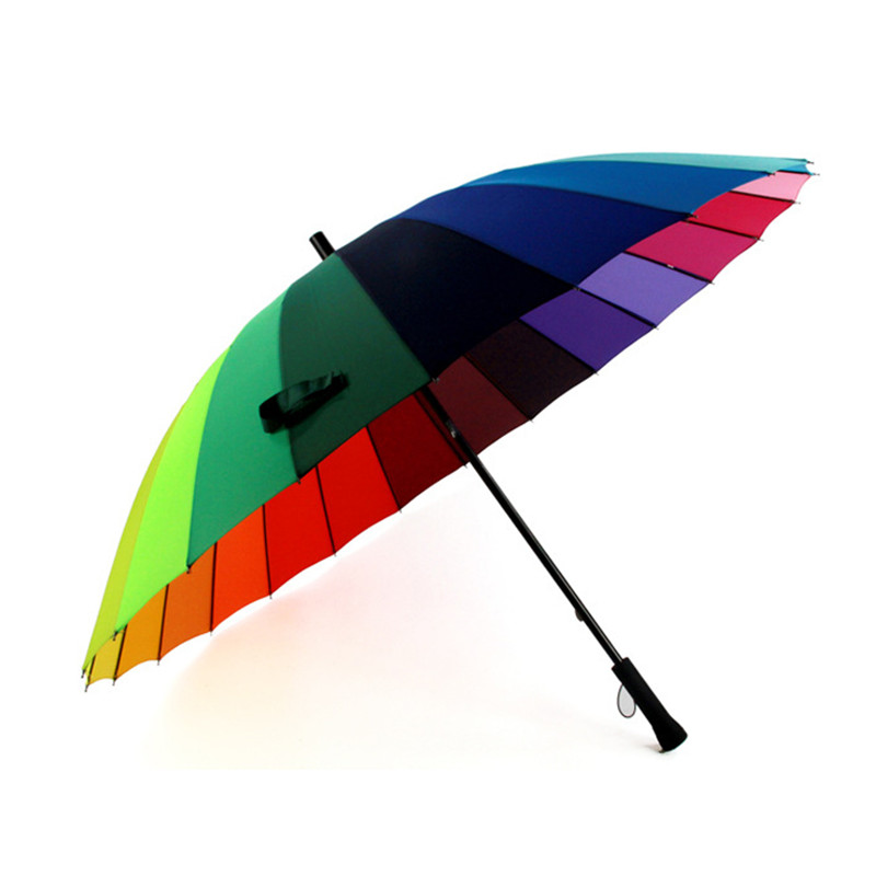 Unisex Straight Long-handle Rainbow Umbrella with 24 Ribs Rain Sun Outdoor Golf Umbrella Oversized 45 in Diameter for 2 Person
