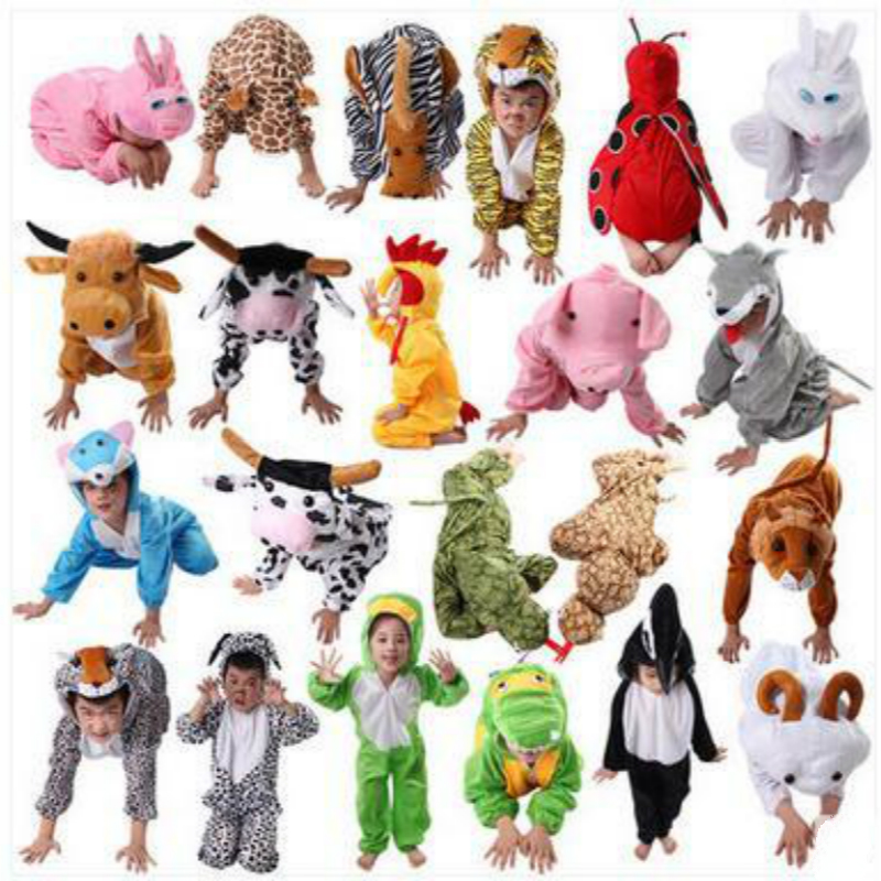 Animal Cosplay Cute Pajamas Jumpsuits Costume For Adult Cartoon Lovely Kids Colorful Rompers Fleece In Carnaval Halloween Party