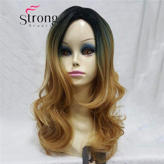 Medium Length Wavy Black Gloden Ombre Skin Top No Bangs Full