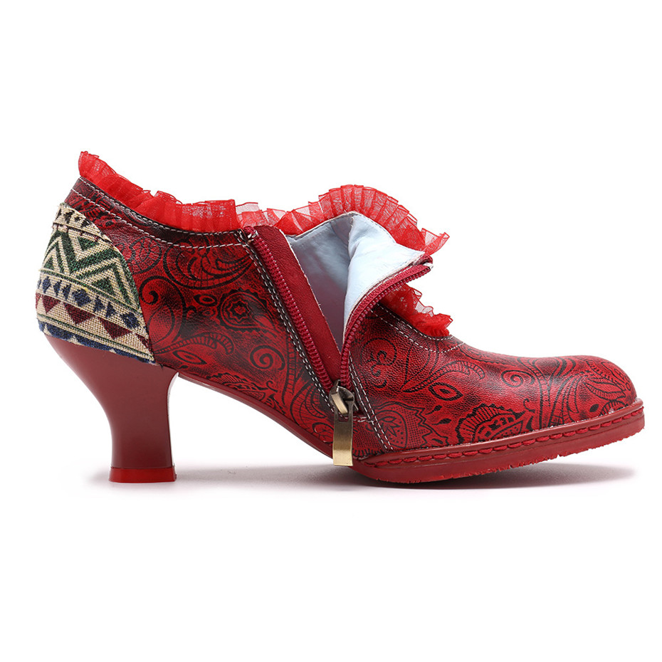 Wine Glasses Women Pumps European Vintage Hand Genuine Leather Shoes Embossed Stitching Spanish Style Four Seasons Women's Shoes (18)