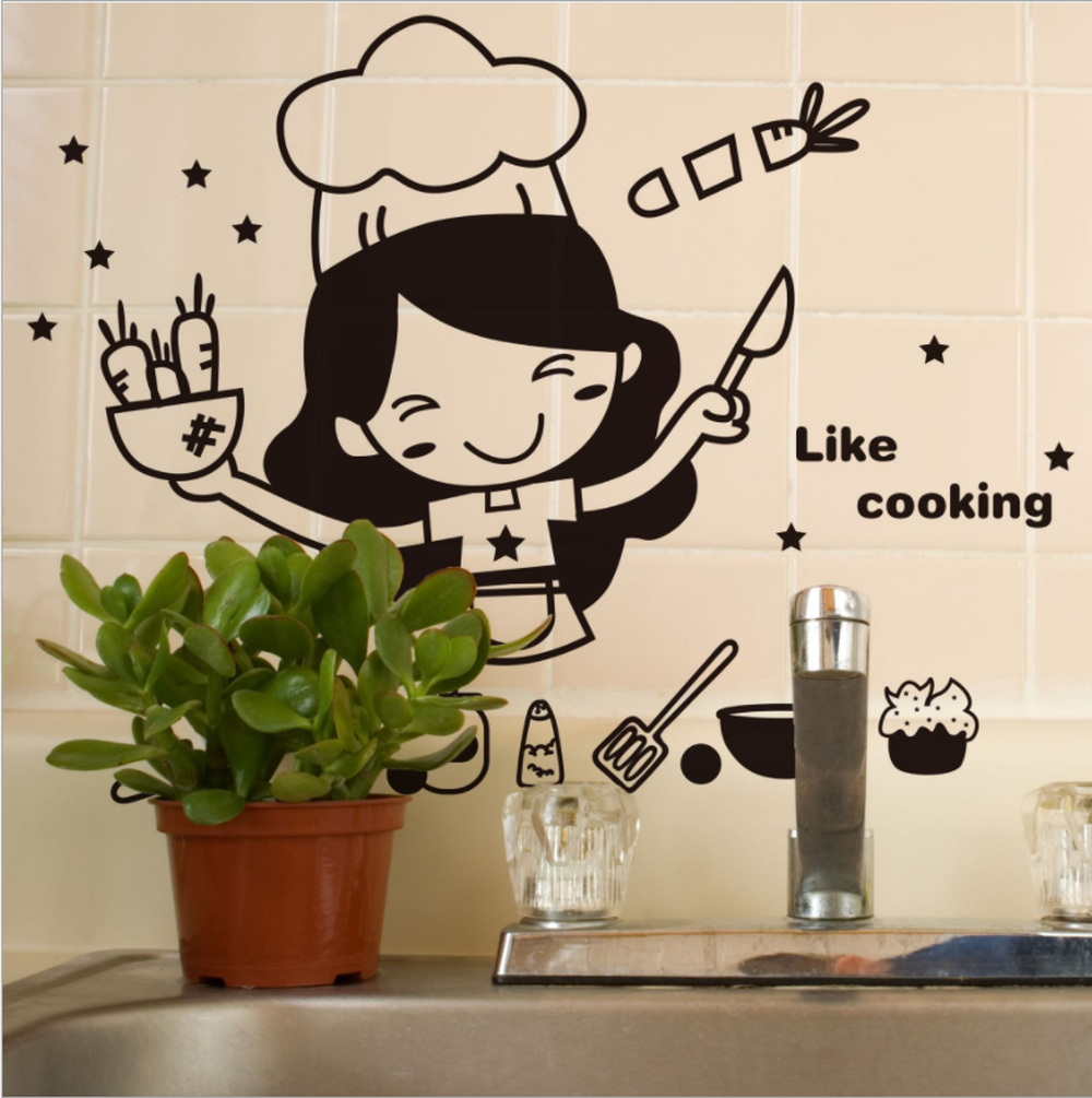Image 2 - Creative Cute Kitchen Wall Sticker Removable Waterproof Kitchen Wall Sticker House Decoration For Household Products-in Wall Stickers from Home & Garden