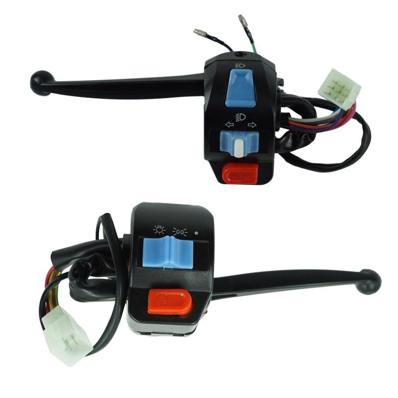 Keenso 7//8 22mm Weatherproof Aluminum Alloy Motorcycle Handlebar Mount Switch Push Button Headlight Brake Fog Lights ON//OFF B Style Self-Locking Button With Light Handlebar Control Switch