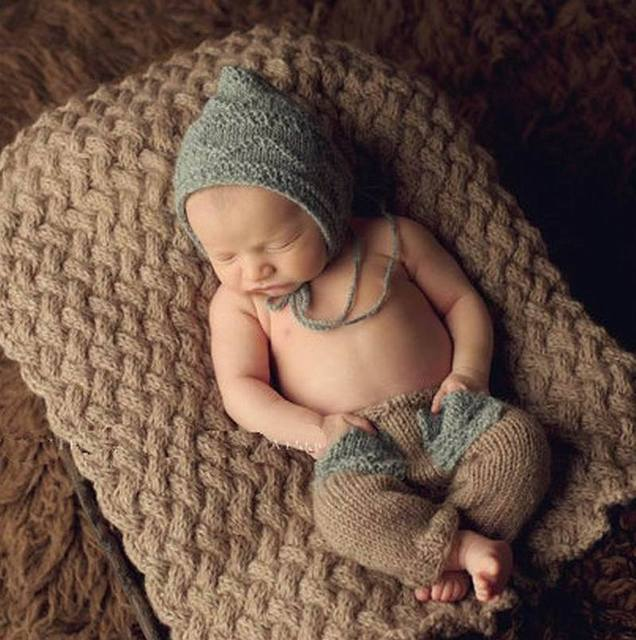 Cartoon grey sweater suit handmade crochet lovely girls boys newborn baby photography props toddler baby