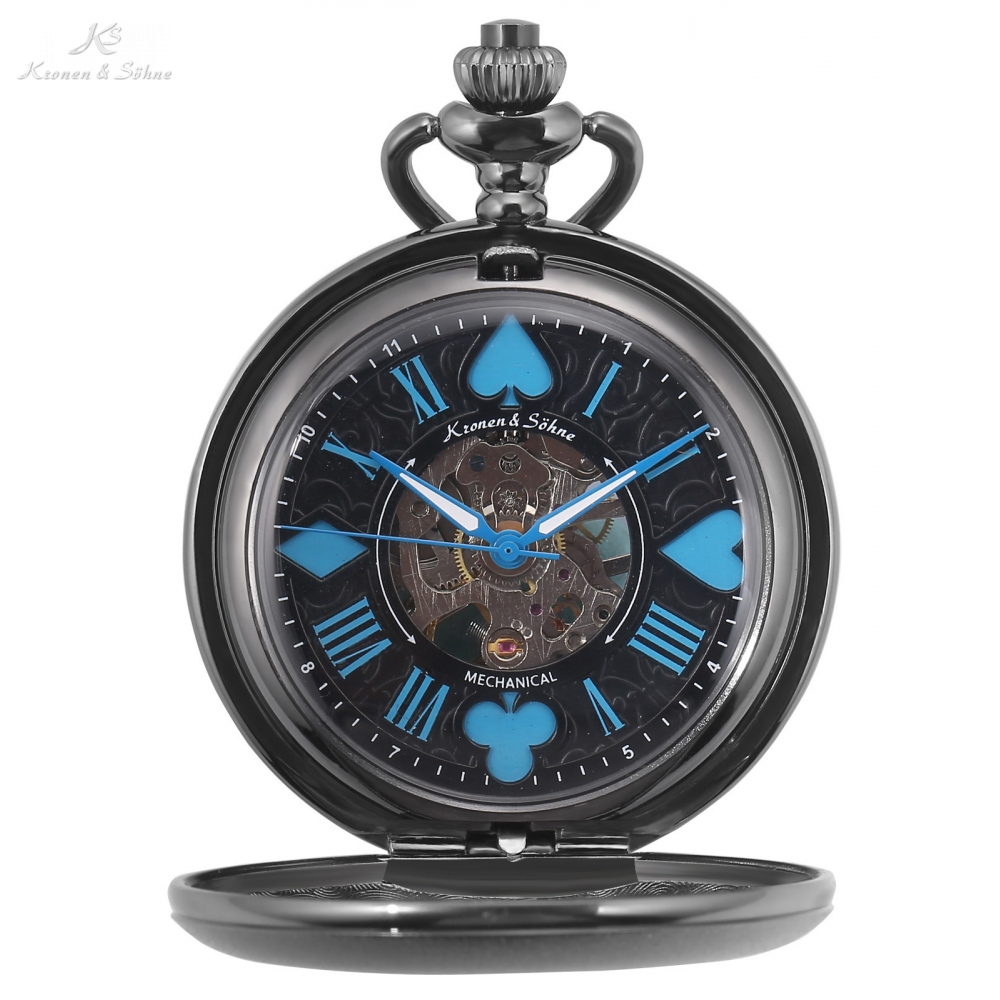 KS Retro Skeleton Poker Face Roman Analog Blue 17 Jewel Black Mechanical Pocket Watch Hand Wind Fobs Chain Watches Clock /KSP083