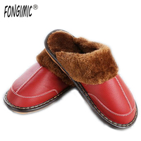 FONGIMIC High Quality Winter Warm Home Slippers Couples Leather Leisure Lamb Wool Cow Muscle Women Men