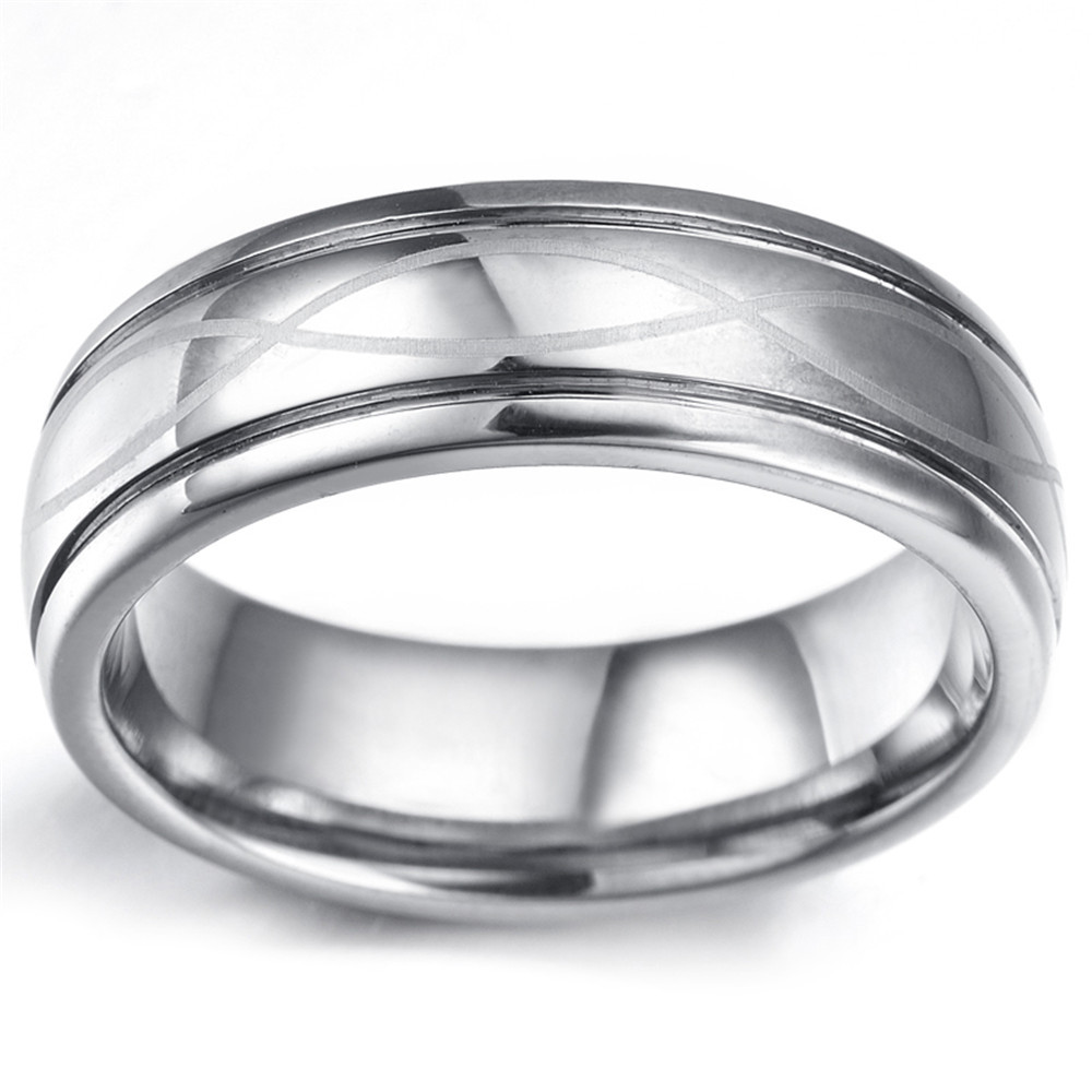Buyee Mens Ring Wave Symbol Silver Color Tungsten 7mm Ring Jewelry