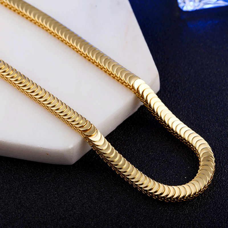 Moduł 2019 nowych moda fajne Punk 8mm złoty wąż Link Chain naszyjnik dla człowieka hurtownia