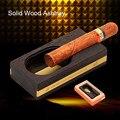 Practical Portable Classic Soild Wood Titanium Smoke Slot 1 Holder Classic Cigar Ashtray with Gift Box