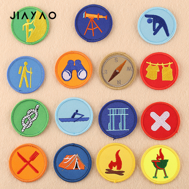 Cartoon Embroidery Patch Cartoon Round Boy Scout Seam Badge Sewing Ironing Clothing Accessories Cloth Stickers