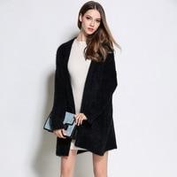 Plus Size Women Long Cardigans Winter Faux Mink Cashmere Poncho Knitting Sweater Oversized Fur Cardigan Black White Jacket Coat