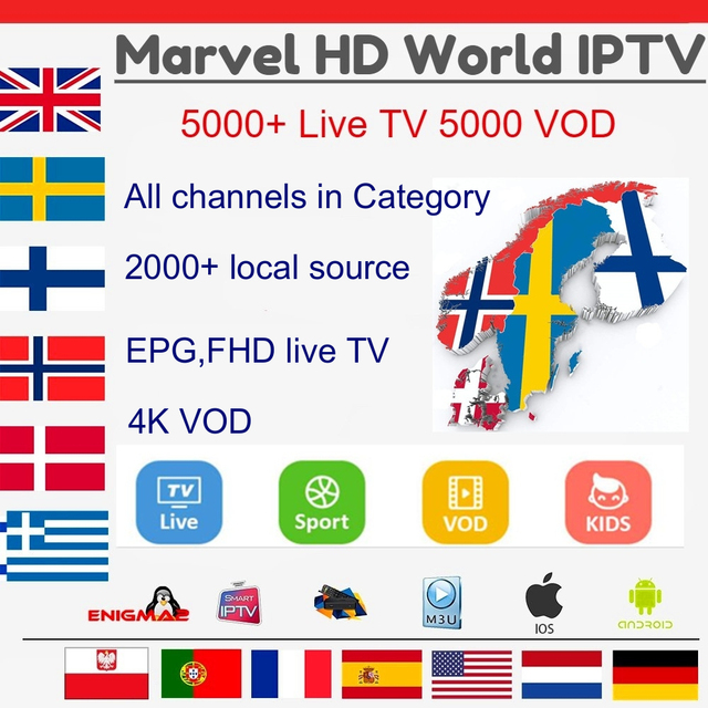 Marvel HD IPTV Subscription for Germany Nordic Dutch greece Portugal Adult Belgium French Arabic IPTV M3U for Android Smart TV