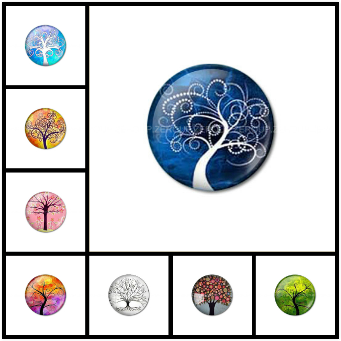 ZEROUP Round Photos Glass Cabochon Jewelry Finding fit Cameo Blank Settings Supplies for Jewelry Components 15