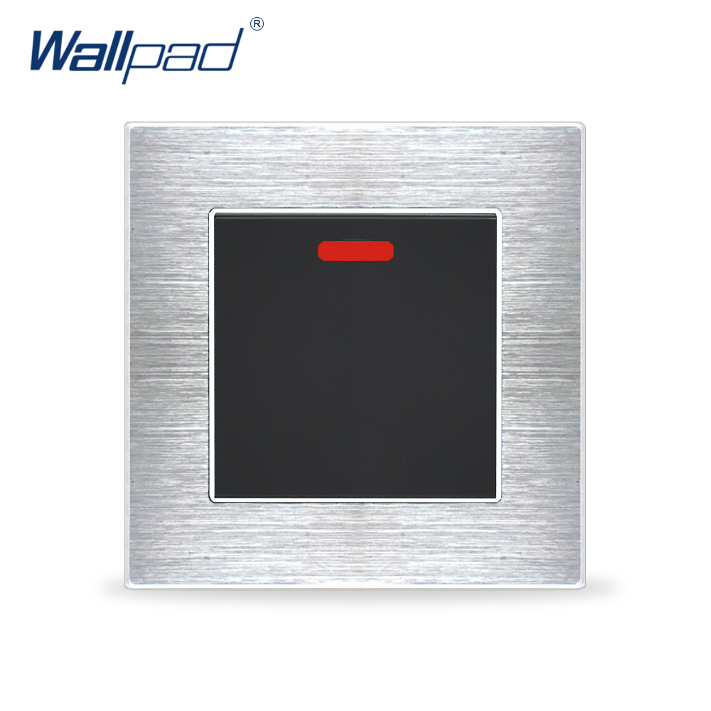 цена на New Arrival 20A Water Heater Switch Wallpad Luxury Wall Light Switch Satin Metal Panel Rocker Switches Interrupteur