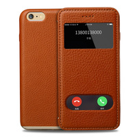 B89 Genuine Leather Dual View Window Stand Flip Case For IPhone 6 6S Plating Cover
