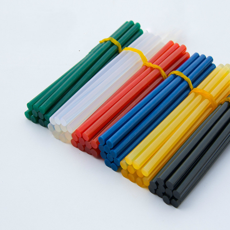 Six colors each 10 pcs Hot melt adhesive rod 7mm hot melt adhesive, silica gel glass melt adhesive glue stick color diy hot melt adhesive glue gun stick 10 pcs