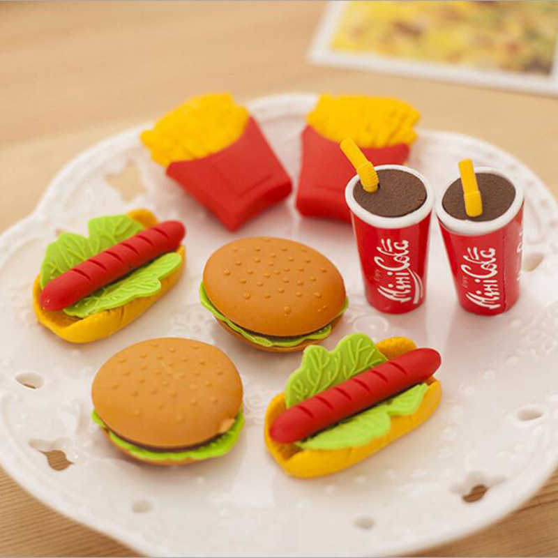 Wholesale! Cute Kawaii Cake Hamburger Food Drink Coke Eraser Set Stationery School Office Erase Supplies Fruit Kids Gift