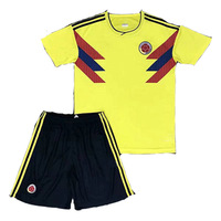 New 2018 World Cup Colombia Home Falcao James Soccer Football Jersey Boys Kids T Shirt Suits