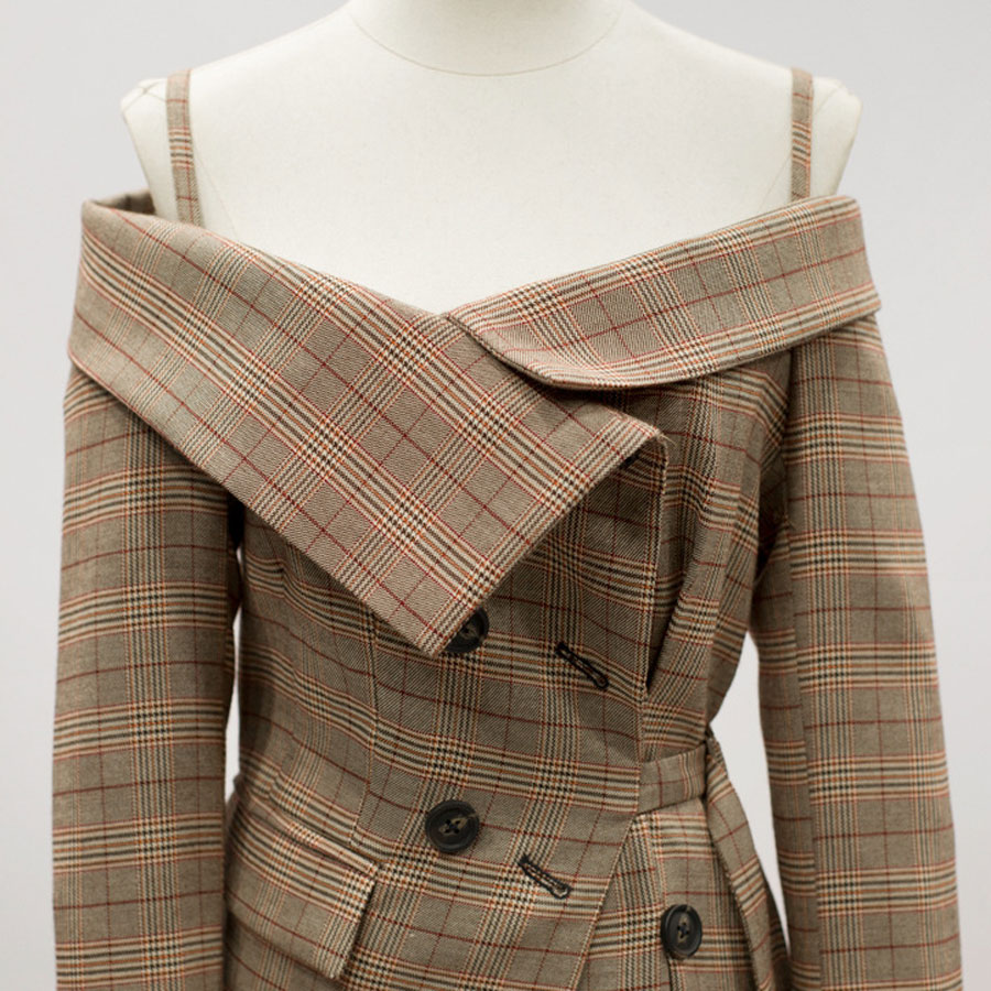 2018-New-Autumn-Women-Blazers-Coat-Long-Sleeve-Asymmetric-Plaid-New-Slash-Neck-Lady-Office-Brown