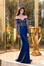 Sexy Blue Evening Dress Mermaid Sweetheart Neck Sweep Train Lace Trumpet Off Shoulder Vintage Full Sleeves Sequined Prom Gown cactus sweetheart neck vintage dress