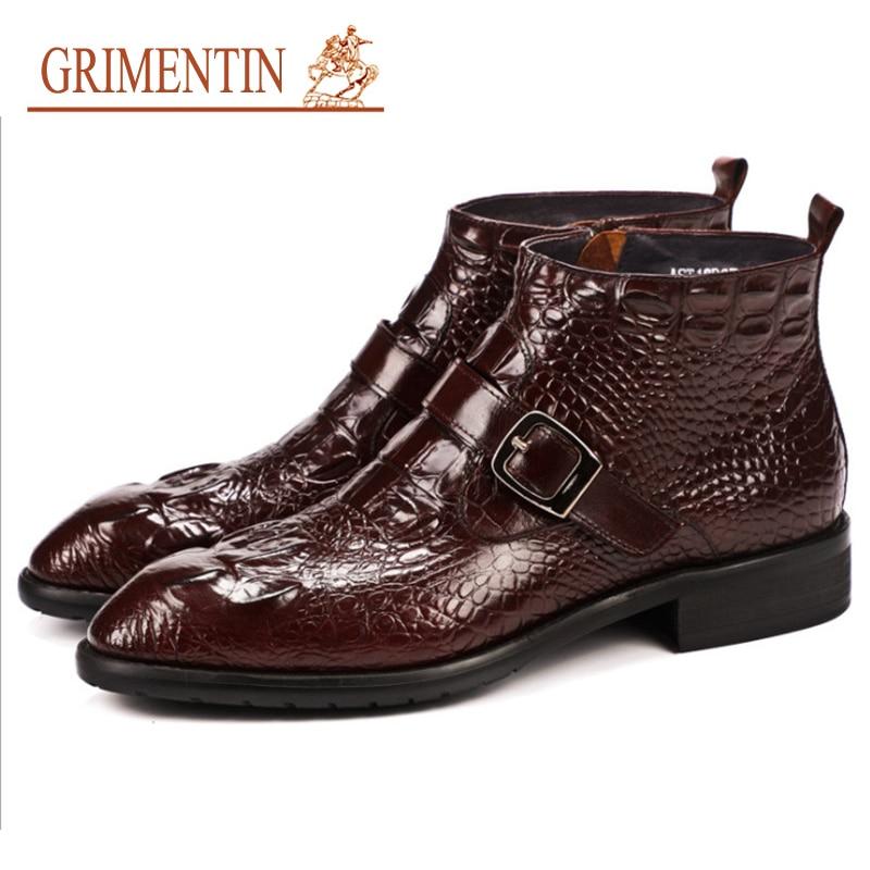GRIMENTIN hiver hommes bottes crocodile en cuir de luxe mode classique affaires bureau formel bottines hommes chaussures grande taille bottes