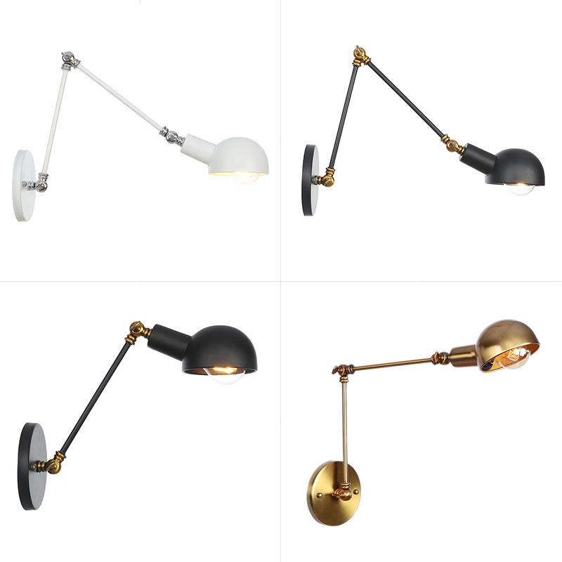 Industrial Adjustable Swing Arm Wall Lamp Reading Bedside Vintage Wandlamp Retro Extendable Led Wall Lights Fexible