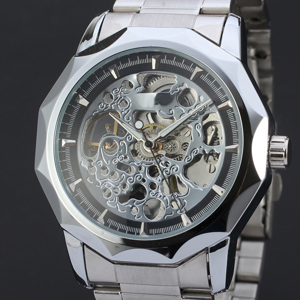 Top Brand Watch Men Sports Military Skeleton Wristwatches automatic wind Mechanical Steel Strap relogio masculino LZ352