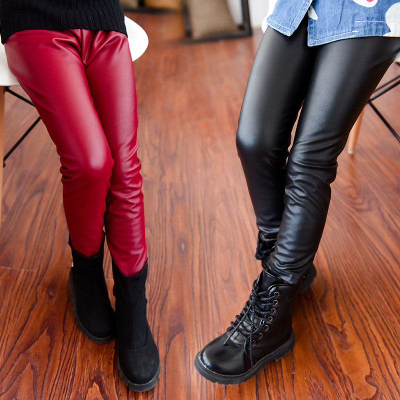 Thick Skinny Girls Leather Pant Trousers 2 12 Year Girls -6688