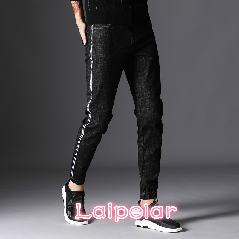 Laipelar 2018 Black Skinny Jeans Men Designer Striped Denim Jeans Casual Cotton Stretch Jean Male Slim Fit Quality Jeans Homme
