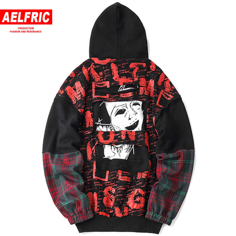 245eac6fb Detail Feedback Questions about AELFRIC 3d Graffiti Printing Plaid Spliced  Hoodies Sweathshirts 2018 Winter Casual Hooded Streetwear Pullover Male  Hoodie ...