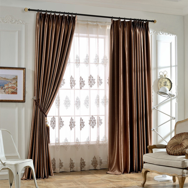 solid color blackout curtains finished living room bedroom full curtain shading blind for office sunshade day