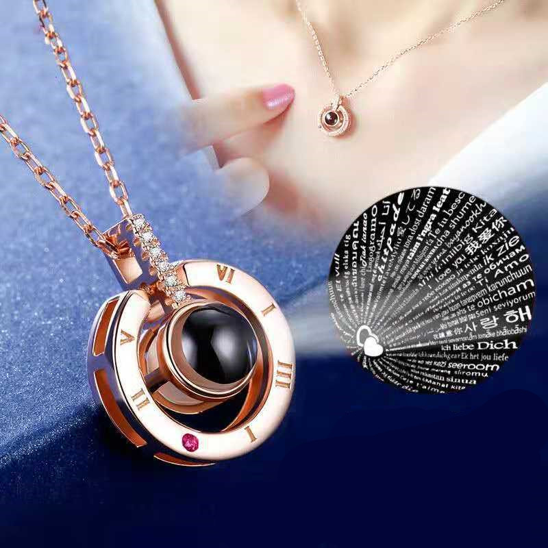 2019 New Arrival Rose Gold & Silver Projection Pendant I Love You 100 Language Necklace Romantic Love Memory Wedding Necklace kette ich liebe dich 100 sprachen