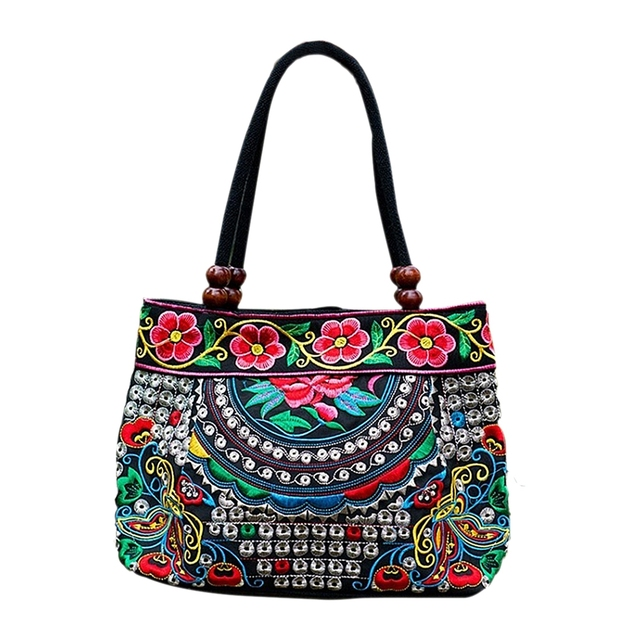 a80f88953a43 Chinese Style Women Handbag Embroidery Ethnic Summer Fashion Handmade  Flowers Ladies Tote Shoulder Bags Cross body Butterfly-in Top-Handle Bags  from Luggage ...