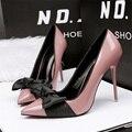 Frete grátis primavera bowknot boca rasa sapatos único das mulheres saltos finos apontou toe sapatos cor de doces de alta-sapatos de salto alto