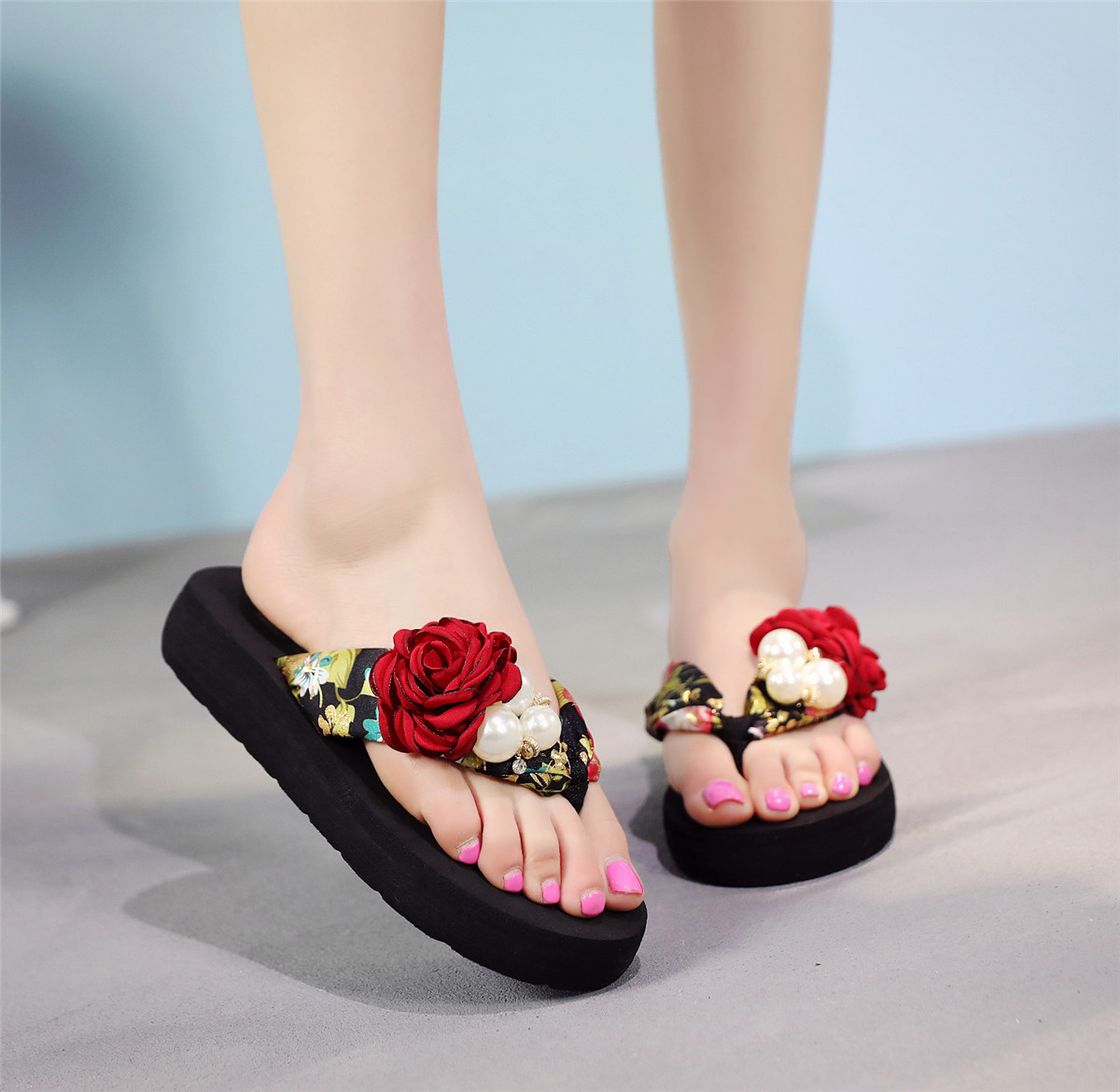 WENYUJH Bohemia Floral Beach Sandal Wedge Platform Thongs Slippers Flip Flops Suummer Shose With Pearl RoseFor Women Girls 2019WENYUJH Bohemia Floral Beach Sandal Wedge Platform Thongs Slippers Flip Flops Suummer Shose With Pearl RoseFor Women Girls 2019