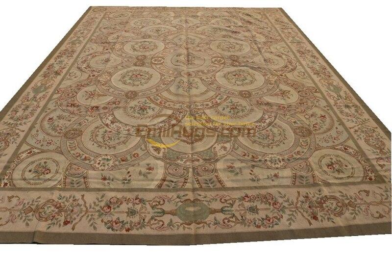 Élégant Floral Antique noué à la mainAubusson en laineTapis fait main Rectangle tapis Serapi tapis