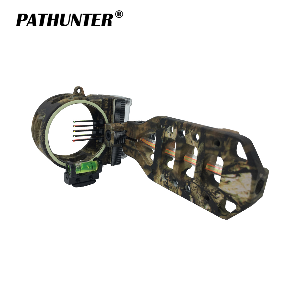PATHUNTER Archery Camo Bow Sight Fiber 5-PIN 0.019 Optic LED Of Accessories For Hunting Equipment