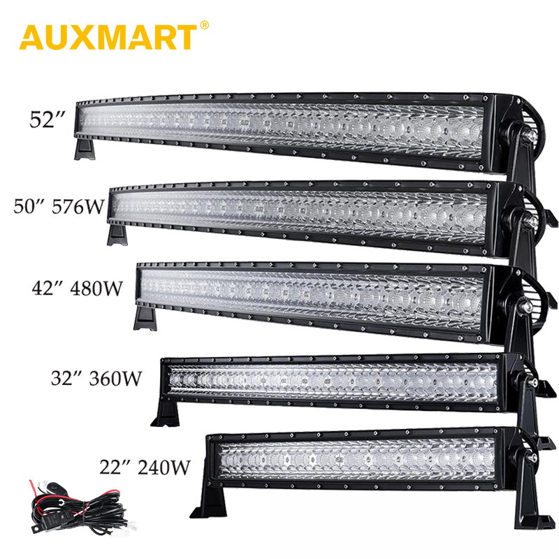 Auxmart Tri Row 14 22 32 42 52 50 Curved LED Light Bar Offroad Combo Beam Bar Light Truck Trailer 4X4 4WD ATV SUV 12V 24V стоимость