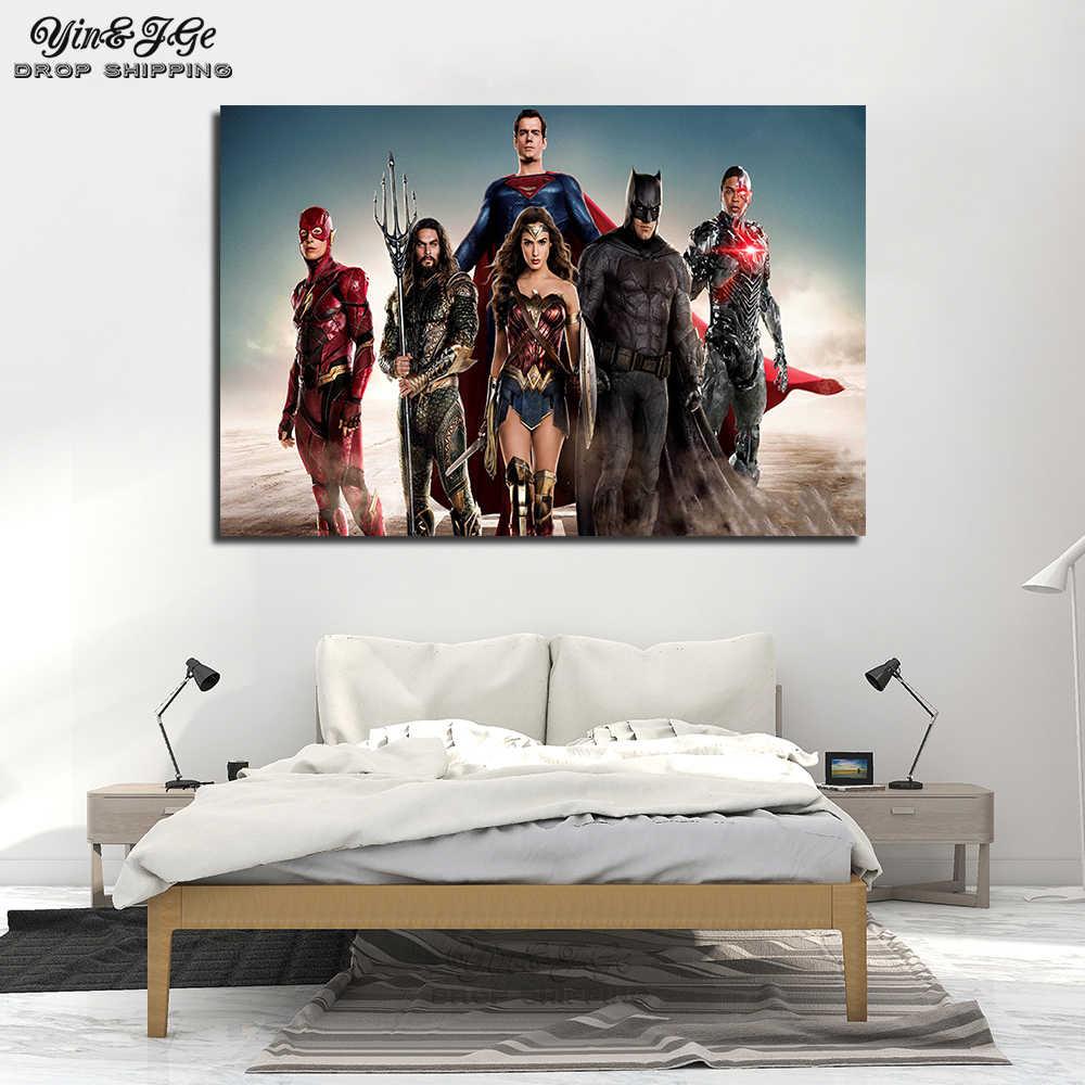 Liga Da justiça Os Heróis da DC COMICS Movie Poster Canvas Wall Art Pinturas Impresso Flash Superman Mulher Maravilha Batman Aquaman Cyborg