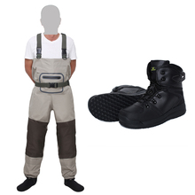 Fly Fishing Breathable stocking foot Chest Waders and Fishing Wading boots Rubber Shoes kits