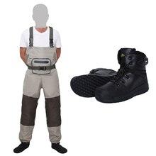 Pesca com mosca respirável meia pé peito waders e pesca wading botas de borracha sapatos kits